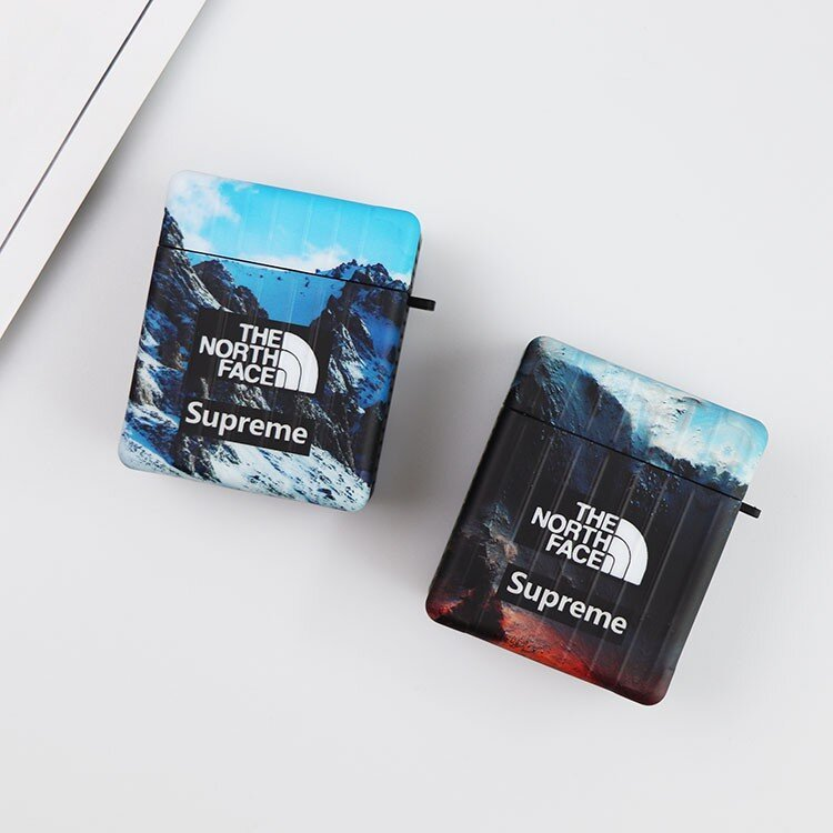 "Синий чехол Supreme The North Face ""Эверест"" для Apple Airpods Pro"